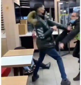 McDonald's customer filmed in brawl with security guard in east London