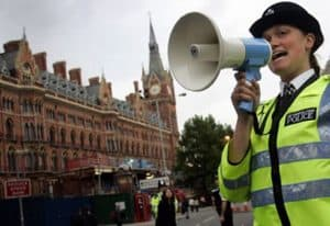police officer with a megaphone